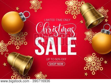 Christmas Sale Vector Banner Design. Christmas Sale Limited Offer Text In Red Background With Xmas E