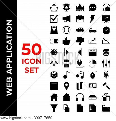 Web Application Icon Set Include Upload, Cup, Crown, Comments, Check, Announcement, Briefcase, Bolt,
