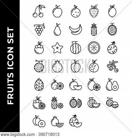 Fruits Icon Set Include Apple, Orange, Strawberry, Lemon, Grape, Avocado, Banana, Pineapple, Durian,