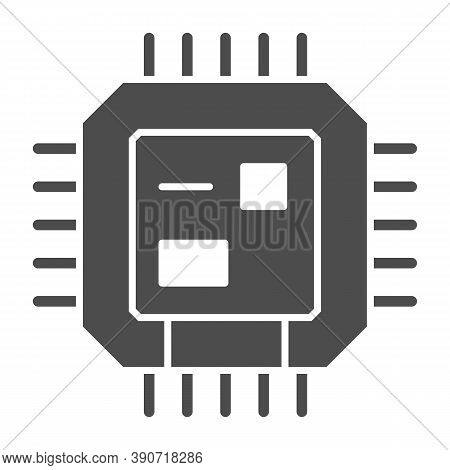 Central Processing Unit Solid Icon, Robotization Concept, Cpu Sign On White Background, Computer Chi