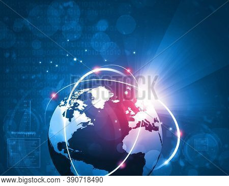Abstract Technology Background, Digital Technology, Futuristic Background With Network Connection Li