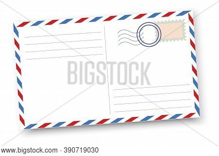 Vector Illustration Of A Retro Postcard. Vintage Postal Card. Old Blank Postcard Template. Stock Ima