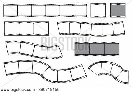 Vector Retro Film Strip. Set Of Vintage Camcorder Frames. Old Blank Filmstrips. Stock Image.