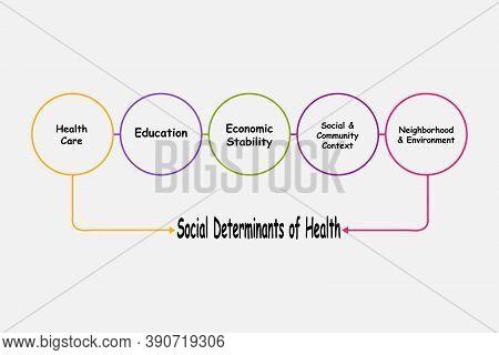 Diagram Of Social Determinants Of Health With Keywords. Eps 10
