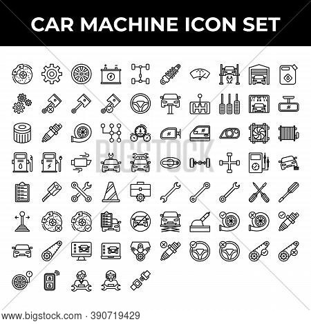 Car Machine Icon Set Include Brake, Gear, Wheel, Battery, Repair, Part, Piston, Steering, Filter, Sp
