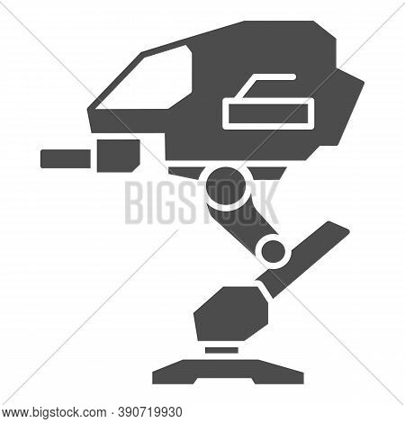 Robot Warrior Solid Icon, Robotization Concept, Mechanical Robotic Weapon Sign On White Background,