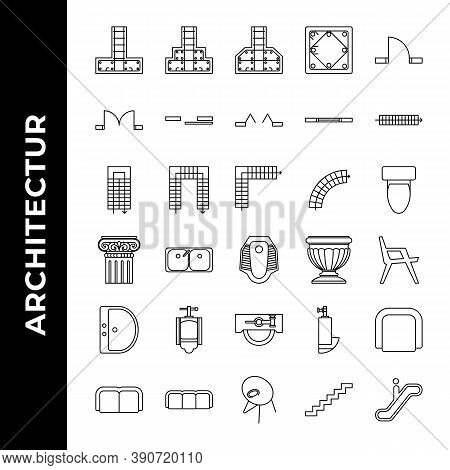 Architecture Icon Set Includepad, Footing, Structure, Stepped, Sloped, Column, Concrete, Single, Doo