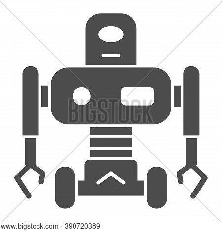 Robot On Wheels Solid Icon, Robotization Concept, Robotic Humanoid Sign On White Background, Electro