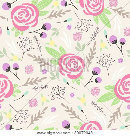 Seamless Floral Pattern. Background With Flowers And Leafs