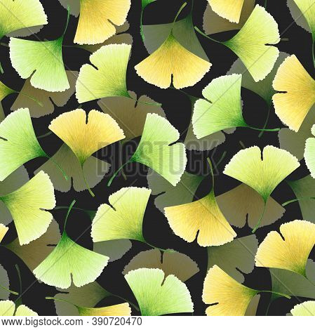 Watercolor Seamless Pattern With Hand Drawn Ginkgo Leaves Isolated On Black Background. Autumn Illus