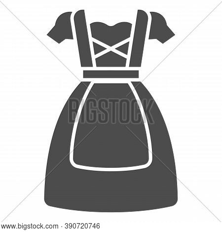 Oktoberfest National Dress Solid Icon, Oktoberfest Concept, Bavarian Woman Dress Sign On White Backg