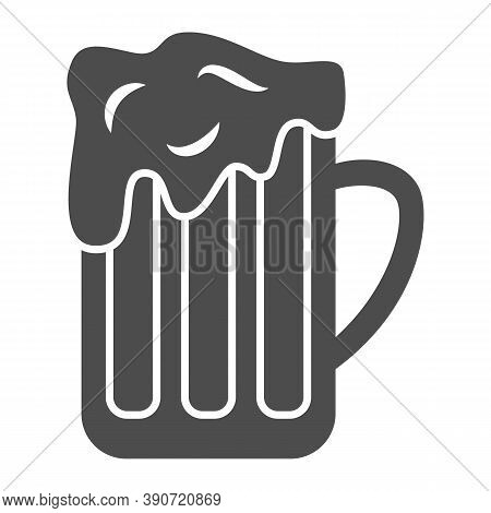 Mug Of Beer Solid Icon, Oktoberfest Concept, Full Alcohol Drink Glass Sign On White Background, Beer