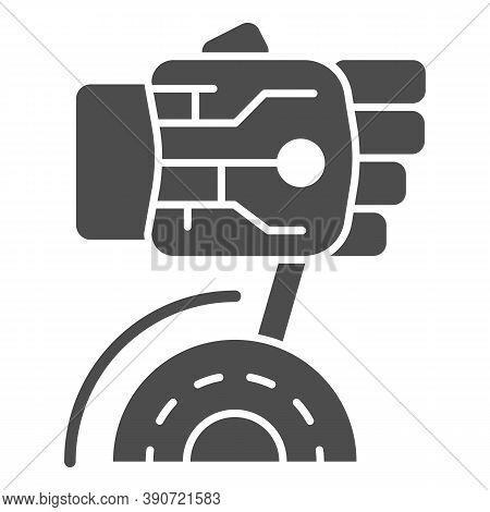 Robot Hand Turns On Switch Solid Icon, Robotization Concept, Robotic Hand Sign On White Background,