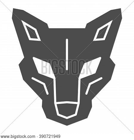 Robot Dog Head Solid Icon, Robotization Concept, Robotic Wolf Sign On White Background, Head Of Robo