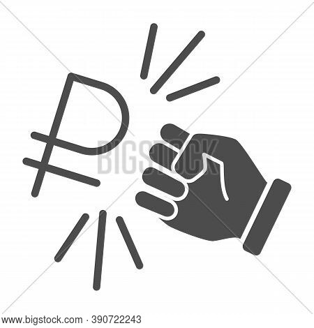 Fist And Ruble Currency Solid Icon, Economic Sanctions Concept, Hit Ruble With Arm Sign On White Bac
