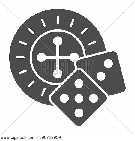 Roulette And Dice Solid Icon, Sea Cruise Concept, Casino Sign On White Background, Roulette With Cub