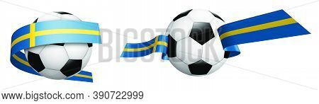 Balls For Soccer, Classic Football In Ribbons With Colors Of Sweden Flag. Design Element For Footbal