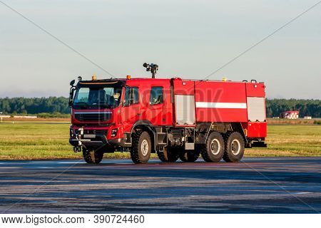 The Airfield Firetruck At The Airport Apron