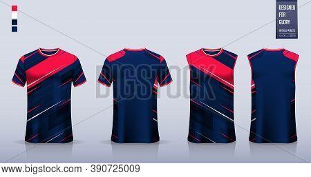 Blue T-shirt Mockup, Sport Shirt Template Design For Soccer Jersey, Football Kit. Tank Top For Baske