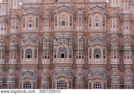 Hawa Mahal, Pink Palace Of Winds In Old City Jaipur, Rajasthan, India