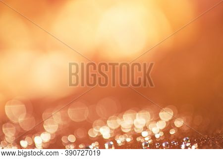 Blurred Yellow-orange Warm Background. Natural Blur Background. Warm Colors And Bright Sunlight. Bok