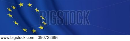 Eu Flag Banner With Copy Space. European Union Waving Flag Wide Horizontal Background. Vector Backdr