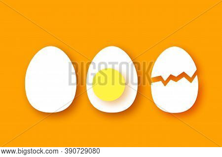 Eggs In Shell, Half. Broken Egg And Yolk. Farm Products. Fast Food. Natural Product. Orange Backgrou
