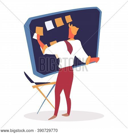 Man Putting Memos On Board For Productivity Increasing Vector. Director Of Company With Table And St