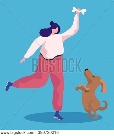 Woman Playing Games With Her Little Dog. Owner Spend Leisure Time With Cute Puppy, Happiness. Friend