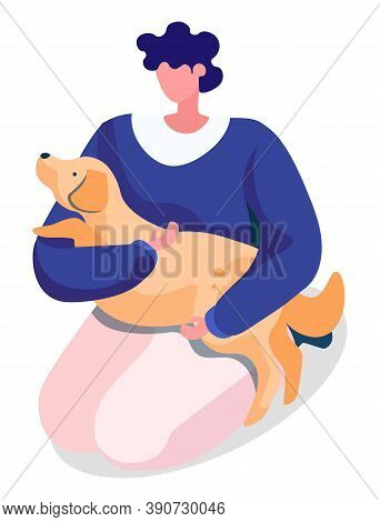 Woman Hold And Hug Her Dog. Puppy Lying On Owner Knees And Relaxing. Lady Spend Leisure Time With Cu