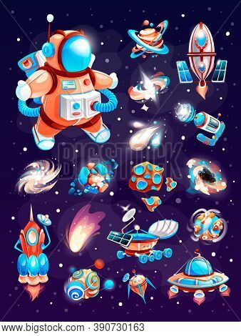 Cosmos Elements Of Cartoon Space Game. Set On A Space Theme, Including A Rockets, Planets, Aliens, B