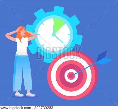 Woman In Hurry, Learning How To Achieve Goal, Effective Time Management Concept. Vector Illustration