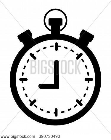Clock Timer Isolated Monochrome Icon. Time For Conducting Task Isolated Vector Illustration In Flat