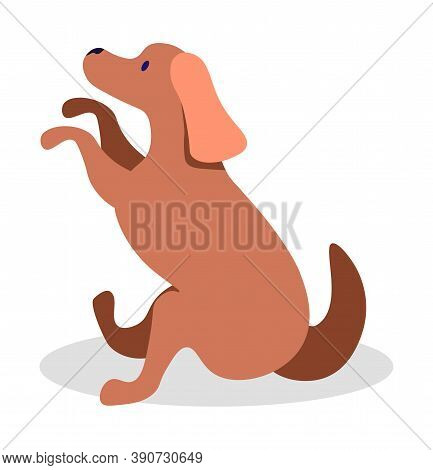 Dog Sitting With Paws Up Isolated Canine Animal In Flat Cartoon Style. Vector Illustration Of Brown