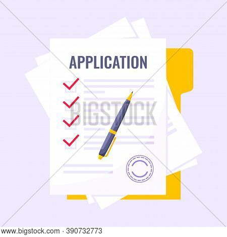 Submit Application Document Form Flat Style Design Icon Sign Vector Illustration Isolated On White B