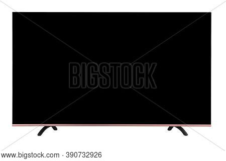 Modern 4k Flat Oled Tv Set Isolated On White Background. Television Set. There Is A Place To Insert