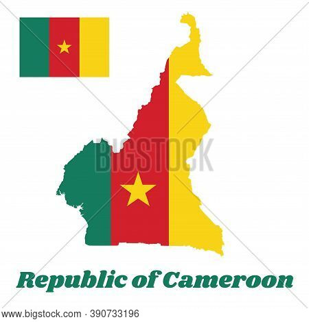 Map Outline And Flag Of Cameroon, A Vertical Tricolor Of Green, Red And Yellow, With A Gold Star Cen
