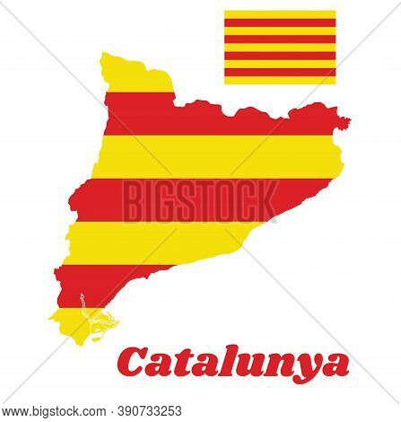 Map Outline And Flag Of Catalonia, The Red Stripe On Golden Background. With Name Text Catalunya.