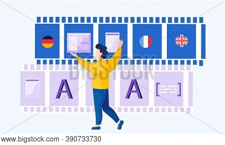 Translation Service Concept. Multilanguage Dictionary. Online Internet Language Courses. A Man Stand