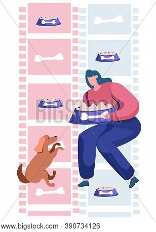 Young Woman Squatted Down, Feeding Her Dog. Funny Girl Training Her Domestic Animal. Happy Female Ca