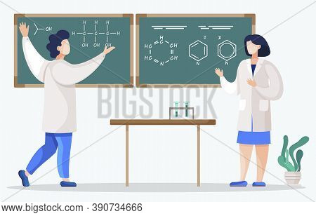 Chemistry Student And Student On Lessons In Classroom. Scientists Writing Results Of Experiment On B