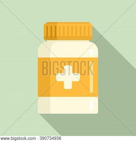 Dose Capsule Jar Icon. Flat Illustration Of Dose Capsule Jar Vector Icon For Web Design