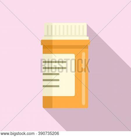 Aspirin Pill Jar Icon. Flat Illustration Of Aspirin Pill Jar Vector Icon For Web Design