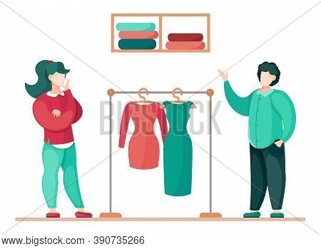 Clothing Choice, Fashion Concept, Discussion Design Between Young Female And Male. Metallic Hanger W