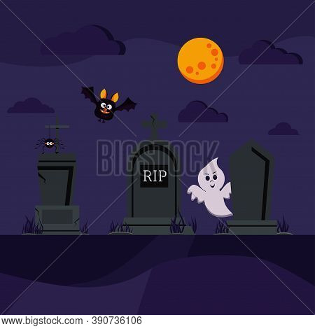 Halloween Cemetery Scene With Bat, Ghost, Spider On Tombstone. Different Old Tomb Gravestone With Cr