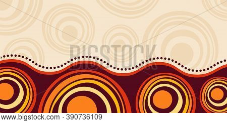Abstract Striped Background, Poster, Banner. Composition Of Smooth Dynamic Waves, Circles. Aborigina