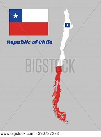 Map Outline Of And Flag Chile, A Horizontal Bicolor Of White And Red With The Blue Square On The Upp