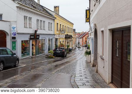 Melk, Austria - May 12, 2019: This Is One Of The Streets Of A Small Provincial Old Town In The Wacha