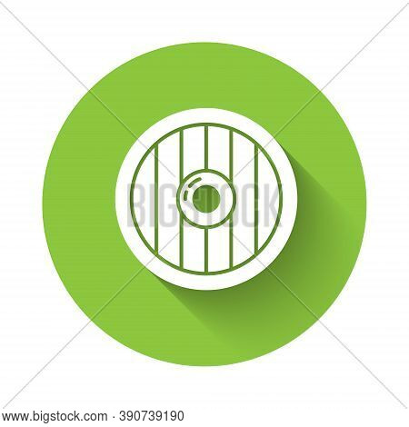 White Round Wooden Shield Icon Isolated With Long Shadow. Security, Safety, Protection, Privacy, Gua