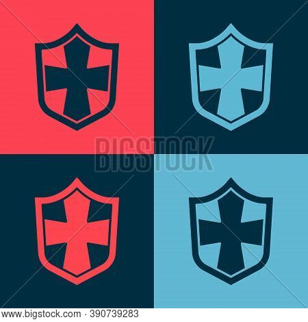 Pop Art Shield Icon Isolated On Color Background. Guard Sign. Security, Safety, Protection, Privacy